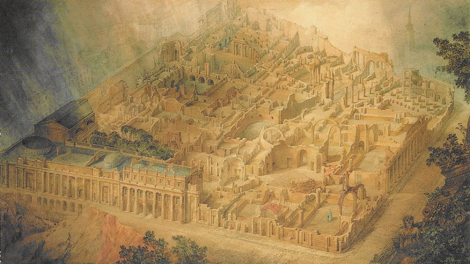 This famous watercolor by Joseph Gandy of Sir John Soane's Bank of England depicted as a ruin effectively reveals the clever pla