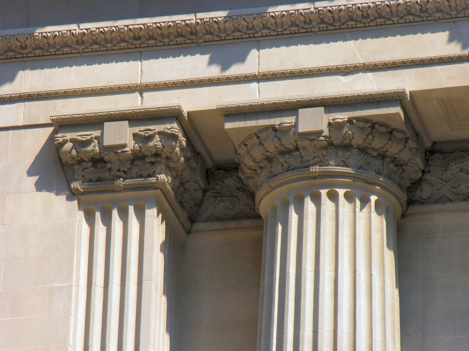The Doric capital at Grand Central Station, New York City, shows sculpted leaves where the ancient Greeks would have painted.