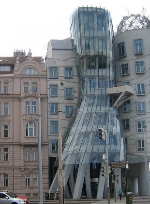Alois Jirasek (left) has a few choice thoughts about Frank Gehry's office building in Prague.