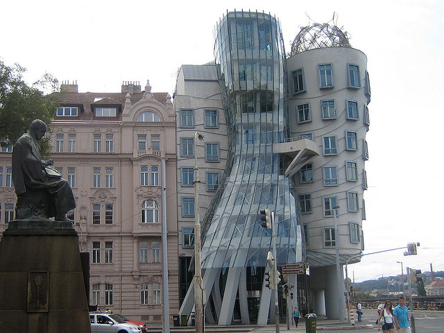 Alois Jirasek (left) has a few choice thoughts about Frank Gehry's office building in Prague. (Image Source)