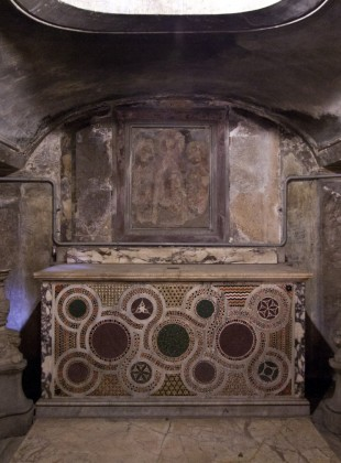 Altar in the crypt of Santa Prassede, Rome