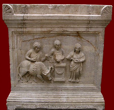 An altar dedicated to the goddess Diana depicts preparations for sacrifice.