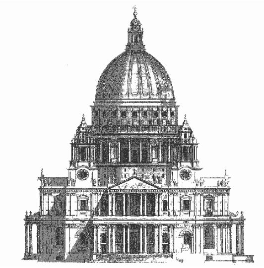 Fig. 5: Facade of St. Paul's Cathedral in Vitruvius Britannicus.