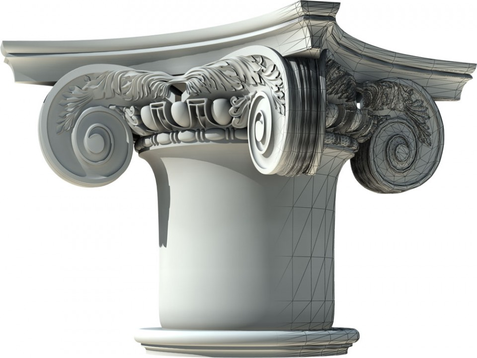 A computer model of a Composite Capital, impossible to achieve parametrically.