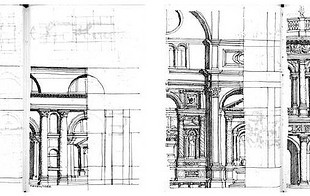 Ed Ford, Pages from Venetian Sketchbook. Superfluous detail on the left, essence on the right.
