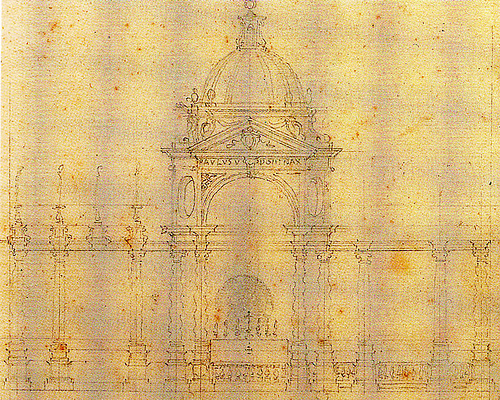 A design by Francesco Borromoni for the altar in the apse at St. Peter's, Rome.