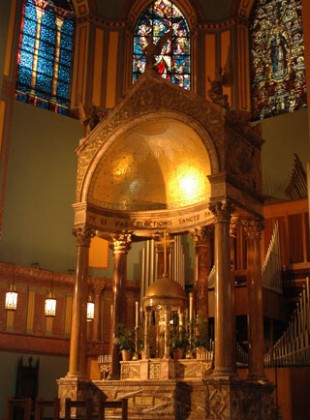 The high altar at the Church of St. Paul the Apostle, New York City. (Image source)
