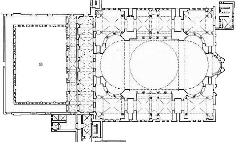 Plan of the Hagia Sophia. North is roughly up and the Sanctuary is to the east.