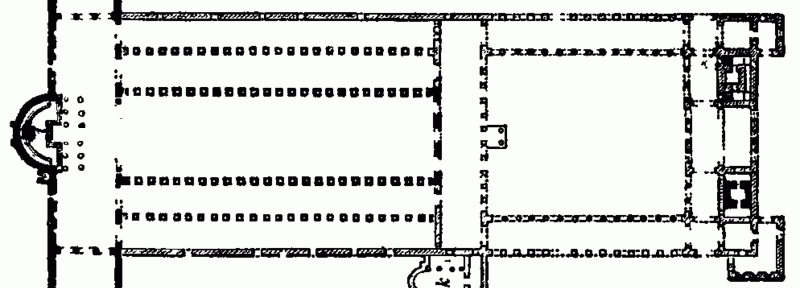 Plan of Old St. Peter's as constructed by Constantine. North is up and the Sanctuary is to the west.