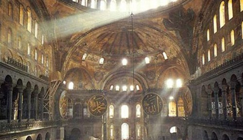 Interior of the Hagia Sophia, sanctuary at the end. Nothing wrong with morning light streaming in.