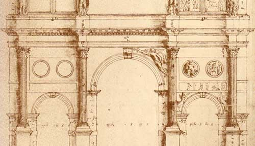 Palladio's mostly faithful measured drawing of the Arch of Constantine, Rome.
