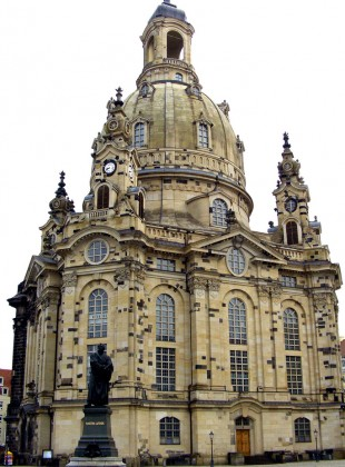 The Church of Our Lady (Frauenkirche), Dresden, Germany. This masterpiece is an 18th century Baroque reworking of a tradition which stretches back to antiquity. Completely destroyed in World War II, its meticulous reconstruction was completed in 2005 by popular demand.