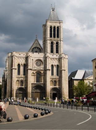 The facade of the Cathedral Basilica of St. Denis outside Paris.