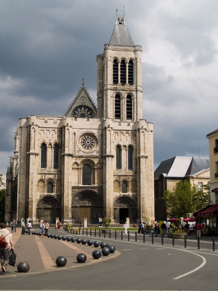 The facade of the Cathedral Basilica of St. Denis outside Paris. (Image source)