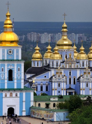 St. Michael's Monastery in Kiev. Domes over side chapels are here added to the quincunx which defines the central mass of the church.