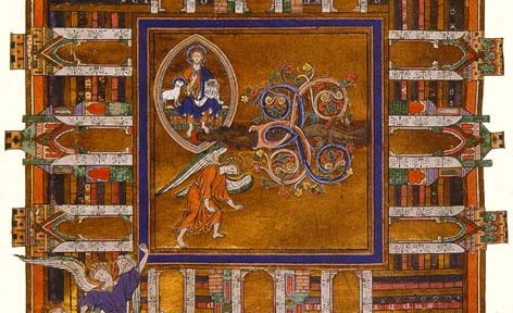 Illuminated manuscript showing the Heavenly Jerusalem, a nine-square.