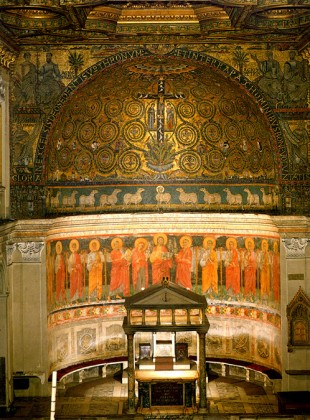 The apse. The cathedra is partially visible behind the altar.