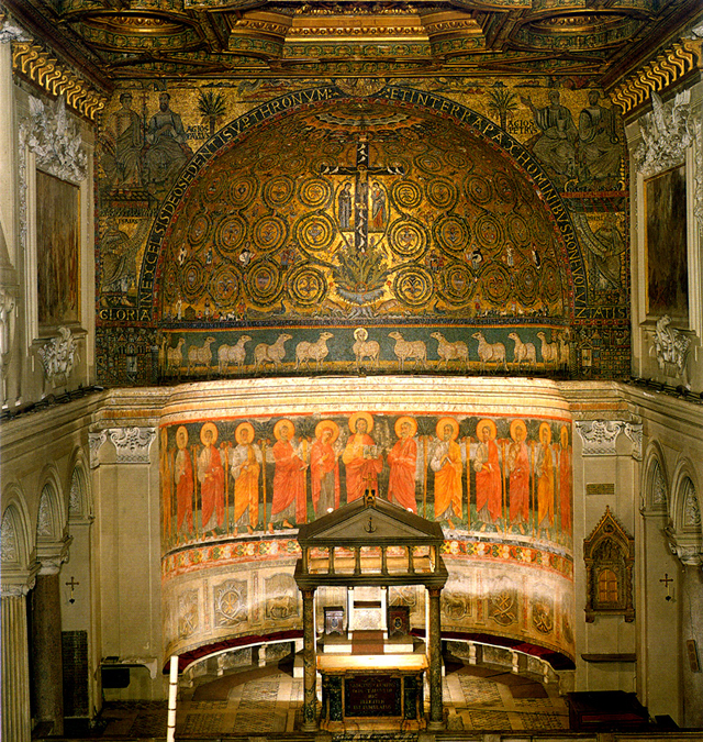 The apse. The cathedra is partially visible behind the altar. [Image source]