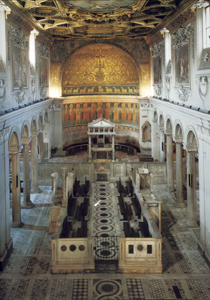 View of the nave, the schola cantorum with ambos to either side,