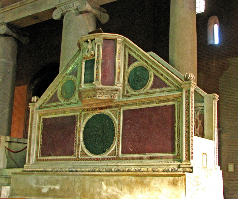 The ambo at St. Lawence Without the Walls, Rome, beautifully detailed with Cosmatesque opus tesselatum. [Photo by Br. Lawrence Lew, O.P.]