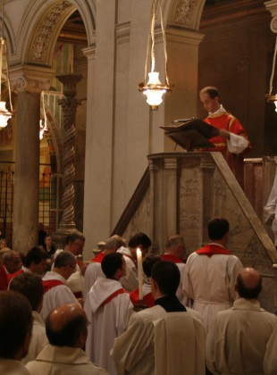 "The Gospel ambo at San Clemente (where else?) on the patronal feast day. ""He went up into a mountain–and opening his mouth he taught them"" (Matthew 5:1, 2).