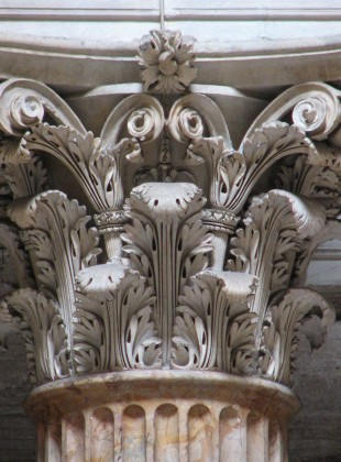 Corinthian capital from the Pantheon. Note the pronounced three-dimensionality of the individual leaves.