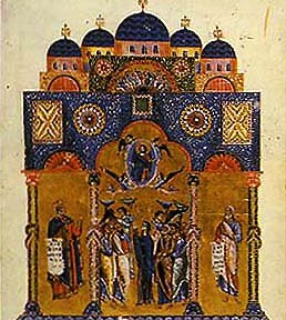 The Church of the Holy Apostles, here depicted in an illuminated manuscript, was built by Constantine as a tomb for himself with relics of the twelve apostles. Rebuilt by Justinian, it was the most important church in Christendom after the Hagia Sophia.